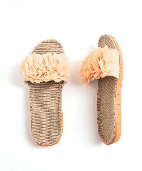 Ruffle Slide Slippers, Pale Orange, hi-res