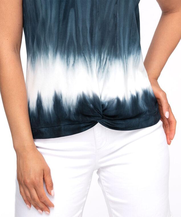 Scoop Neck Knot Front Top, Blue Tie-Dye