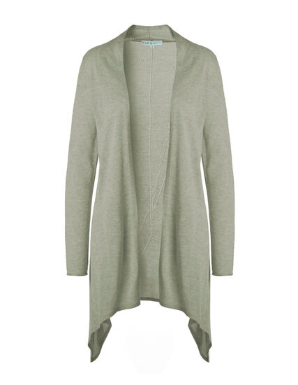 Sage Long Pointelle Cardigan, Sage, hi-res