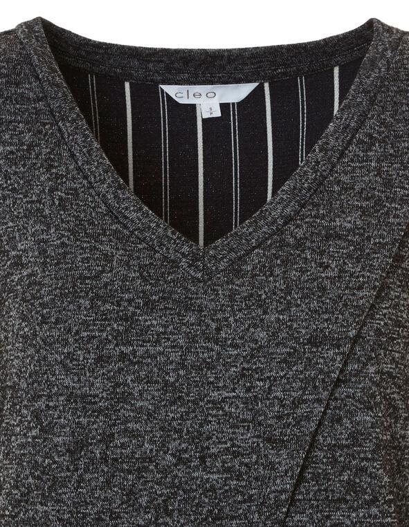 Grey Striped Fooler Top, Grey, hi-res