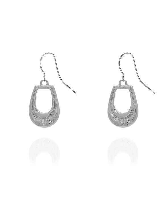 Silver Hammered Earring, Silver, hi-res