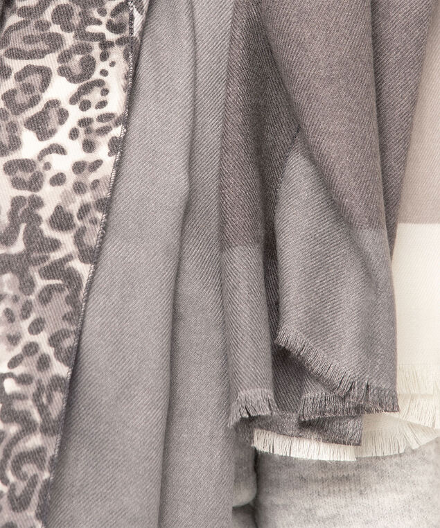 Animal Print Colour Block Scarf, Charcoal/Grey/Light Grey, hi-res