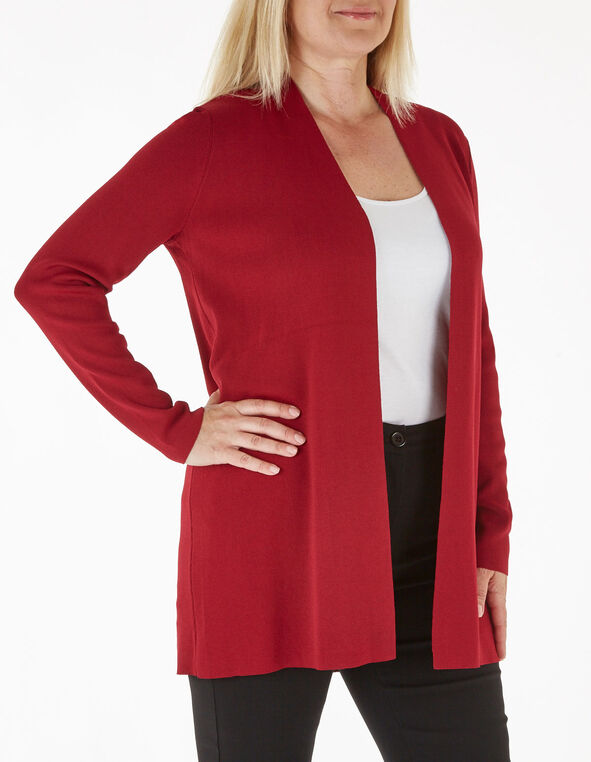 Red Long Crepe Cardigan, Red, hi-res
