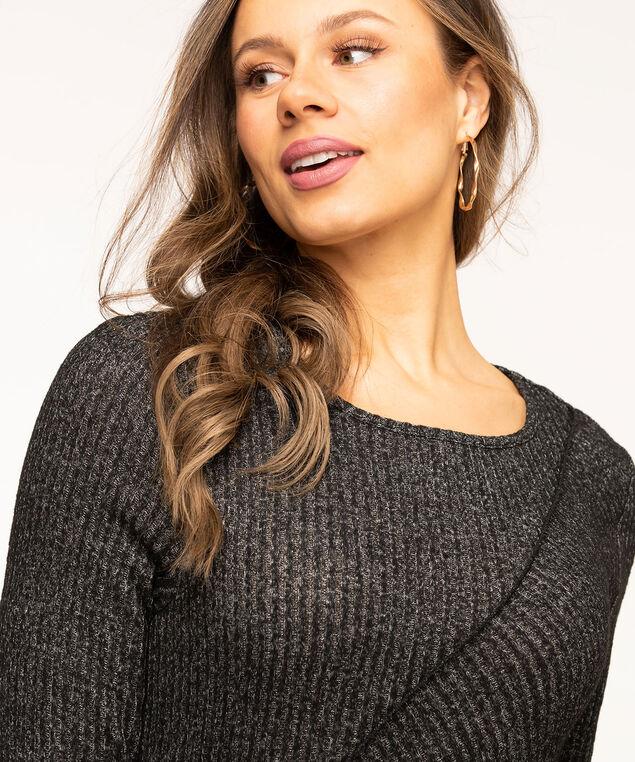 Charcoal Rib Knit Midi Dress, Charcoal Mix