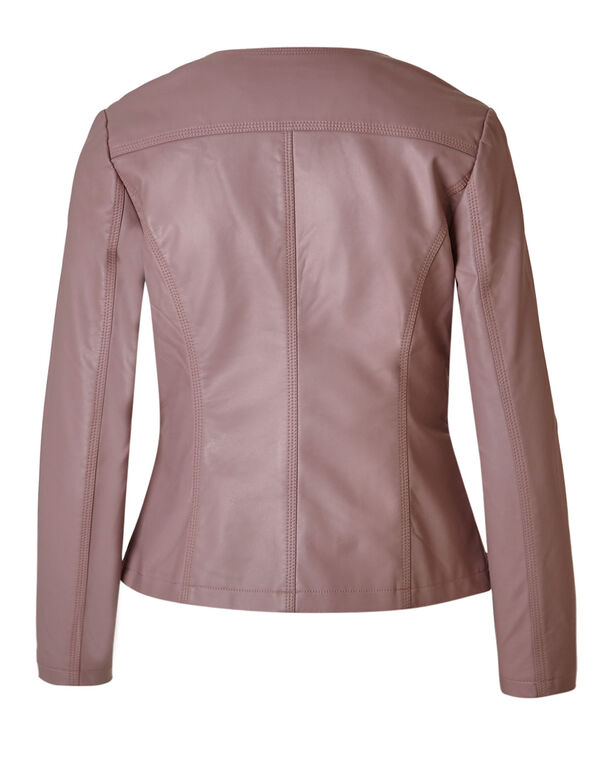 Pink Quilted Faux Leather Jacket, Pink, hi-res