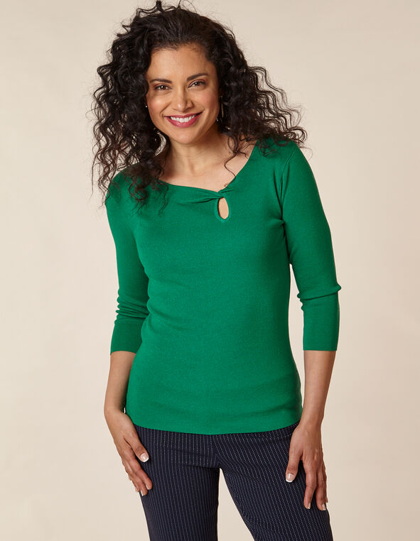 Emerald Knot Front Sweater, Green/Emerald, hi-res