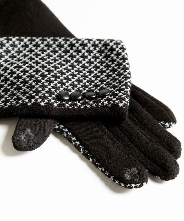 Black Patterned Button Trim Gloves, Black/Ivory