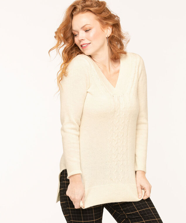 Ivory Cable Stitch Trim Sweater, Ivory, hi-res