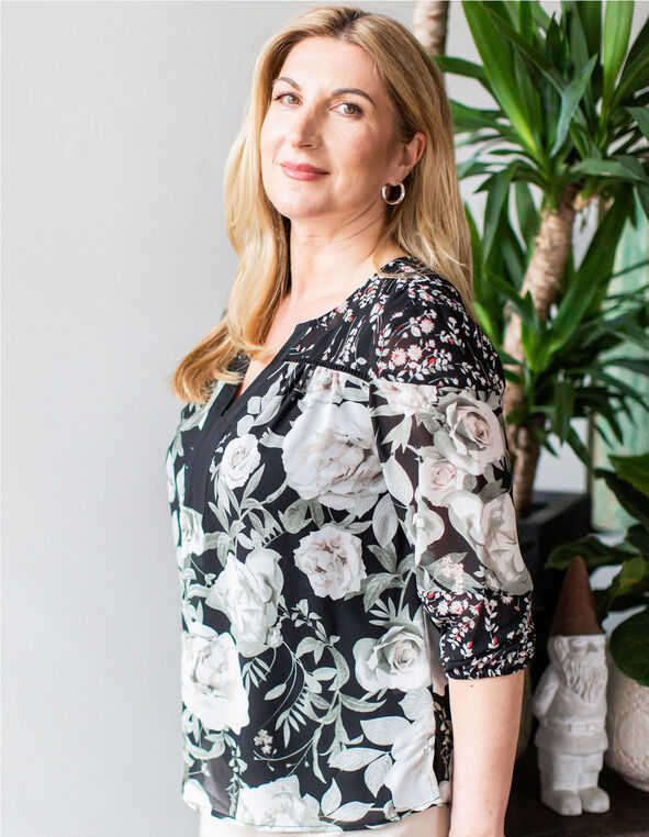 Black Floral Printed Blouse, Black, hi-res