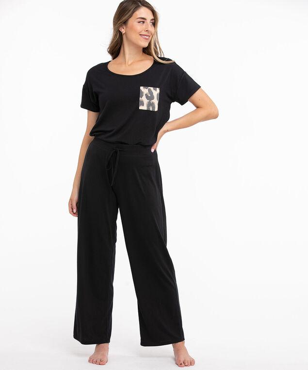 Super Soft Wide Leg Pyjama Pant, Black/Leopard Print