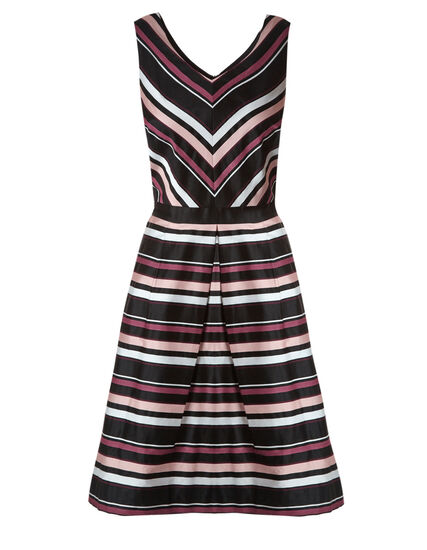 Pink Stripe Fit & Flare Dress, Pink/Sangria, hi-res