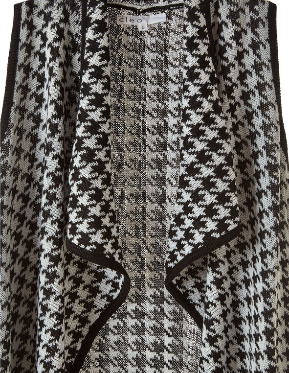 Black Houndstooth Knit Vest Cardigan, Black/White, hi-res