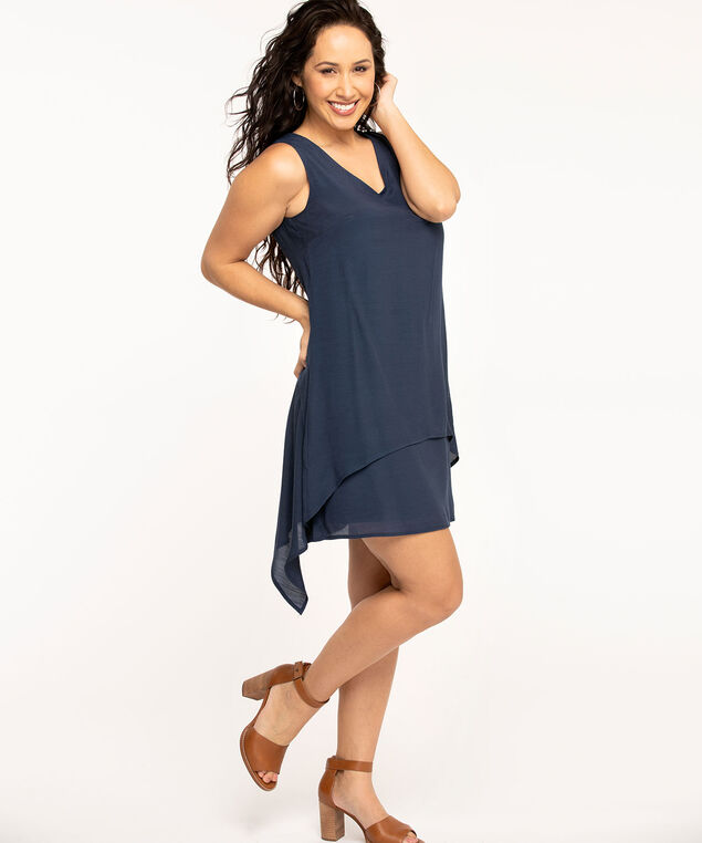 Navy Layered Sharkbite Dress, Navy