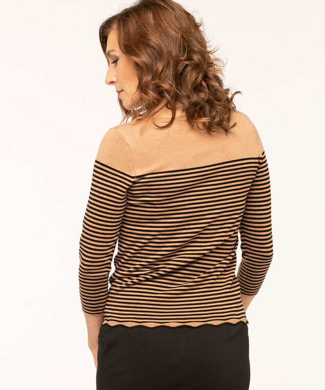 Scallop Edge Essential Sweater, Camel