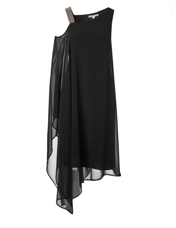 Black Chiffon Maxi Dress, Black, hi-res