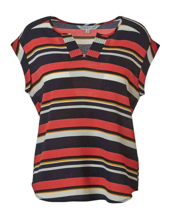 Stripe Print Blouse, Navy, hi-res