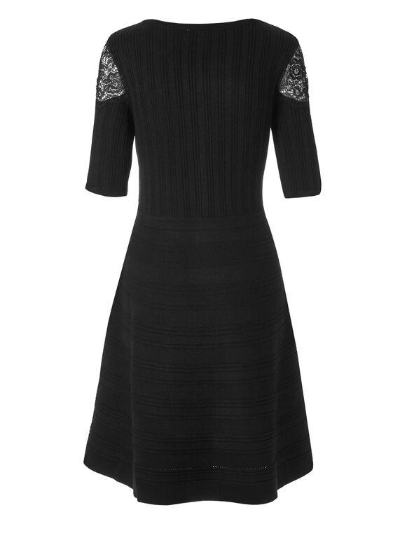 Black Lace Detail Sweater Dress, Black, hi-res