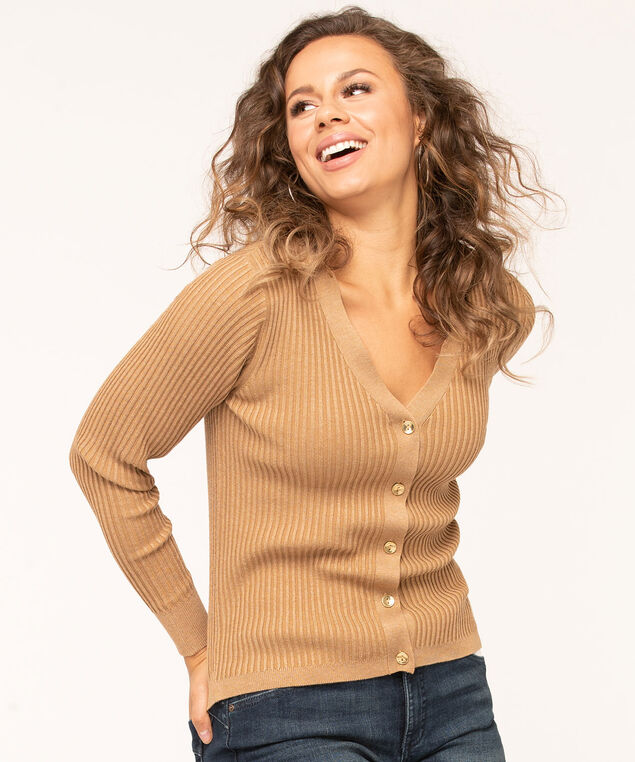 Gold Button Ribbed Cardigan, Camel, hi-res