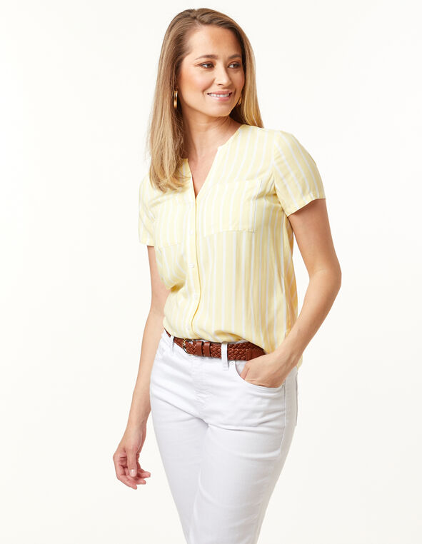 Button Front Blouse, Yellow, hi-res