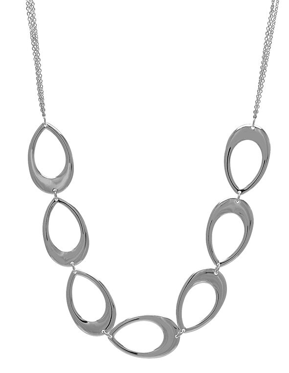 Silver Pear Cluster Short Necklace, Silver