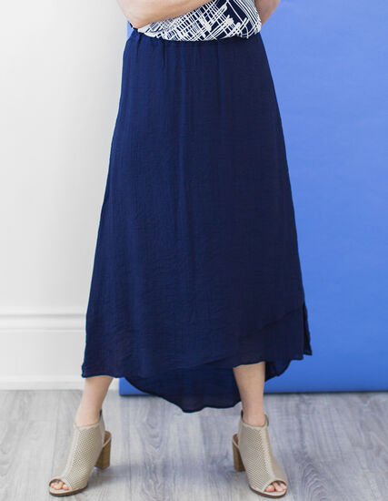 Navy Gauze Skirt, Navy, hi-res