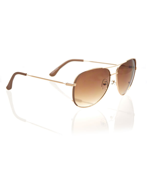 Brown Aviator Metal Sunglasses, Brown/Gold, hi-res