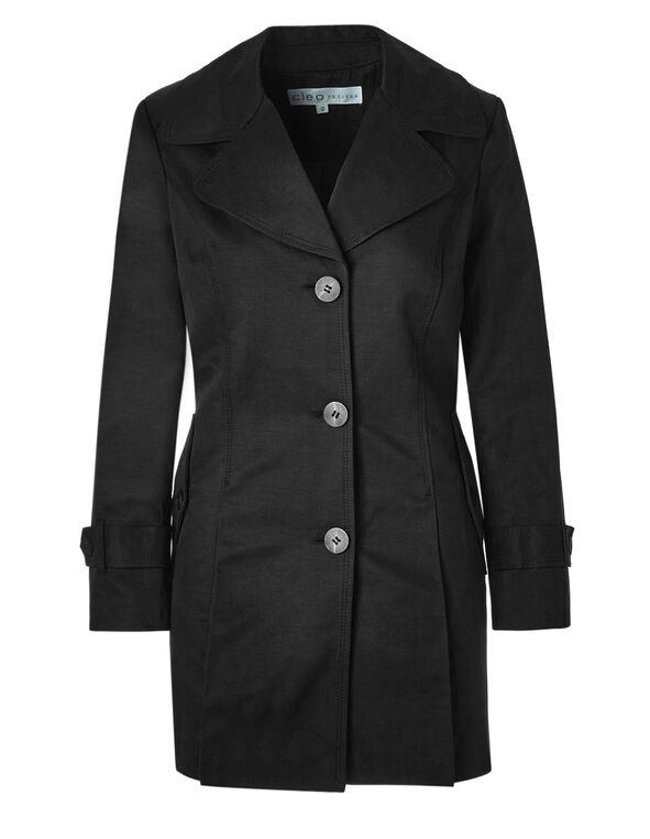 Black Button Front Trench Coat, Black, hi-res