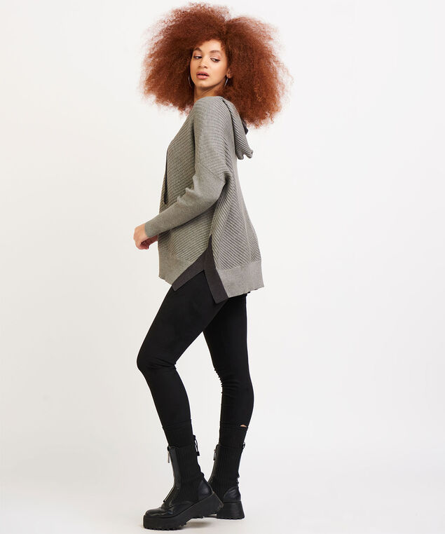 Dex Hooded Long Sleeve Sweater, Charcoal
