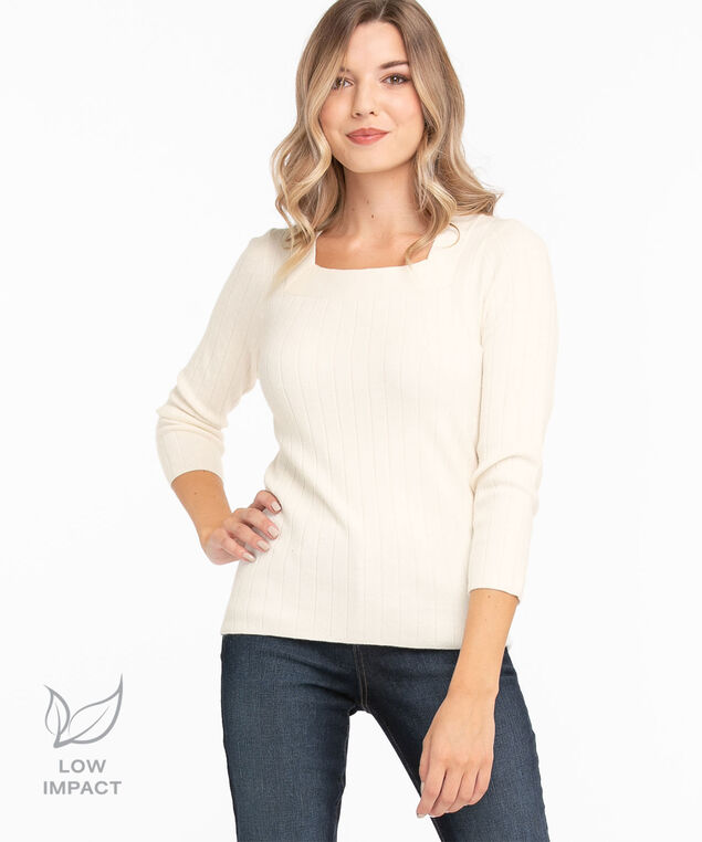 Low Impact Square Neck Sweater, Ivory