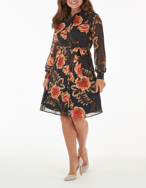 Navy and Coral Floral Chiffon Dress, Coral, hi-res