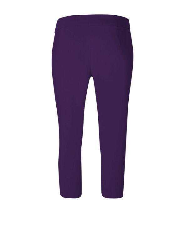 Dark Purple Capri Pull On Pant, Dark Purple, hi-res
