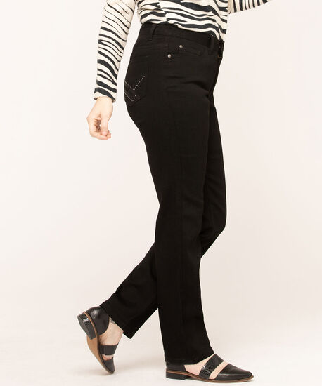 Black Straight Leg Blingy Jeans, Black, hi-res