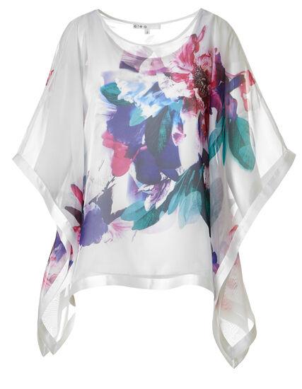 White Floral Caftan Blouse, White Pattern, hi-res