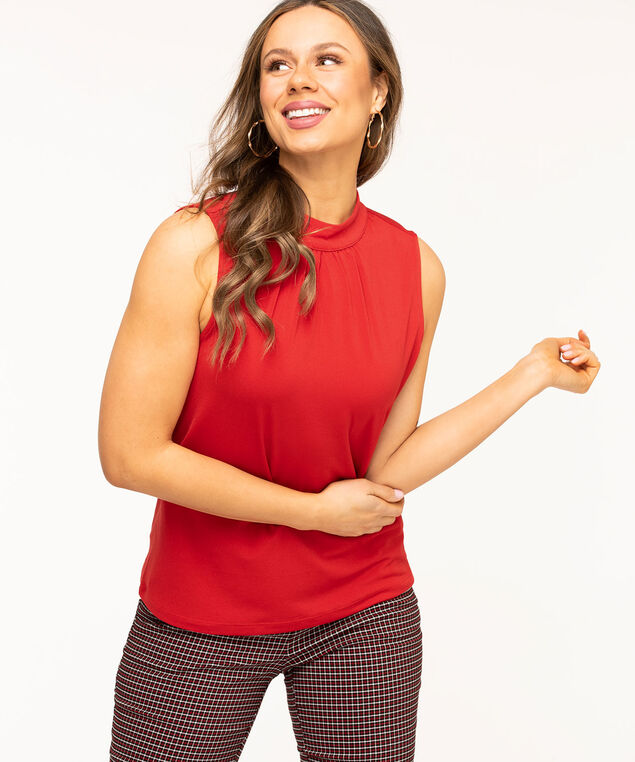 Sleeveless Gathered Mock Neck Top, Red
