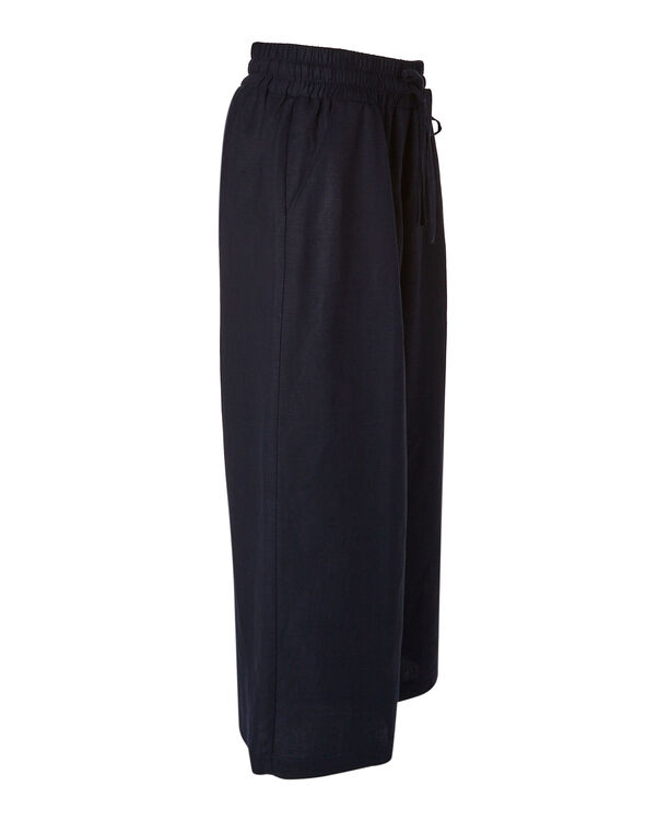 Navy Linen Blend Wide Leg Capri, Navy, hi-res