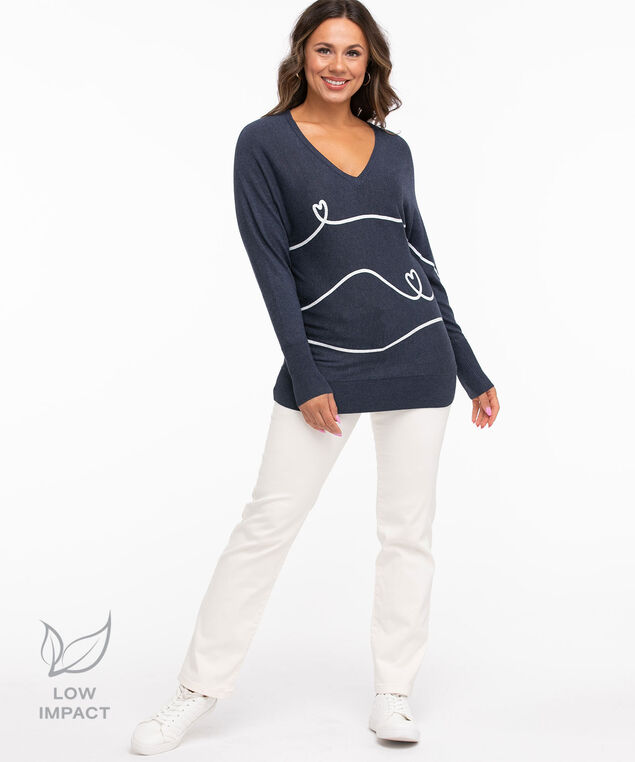 Low Impact Dolman Sleeve Sweater, Navy Mix/White Heart Lines