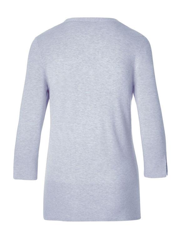 Blue Criss Cross Neckline Sweater, Soft Blue, hi-res