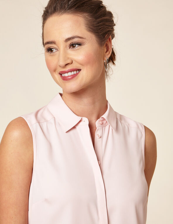 Carnation Pink Collared Button Blouse, Pink/Carnation, hi-res
