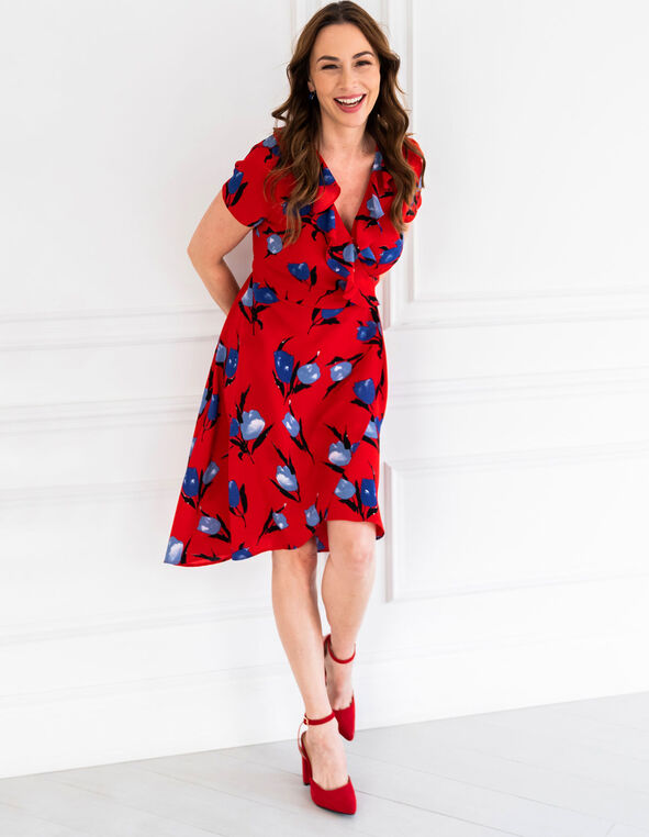 Red Floral Wrap Dress, Red, hi-res
