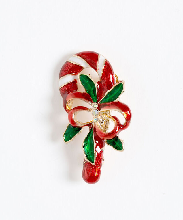Candy Cane Holiday Pin, Red/White/Green, hi-res