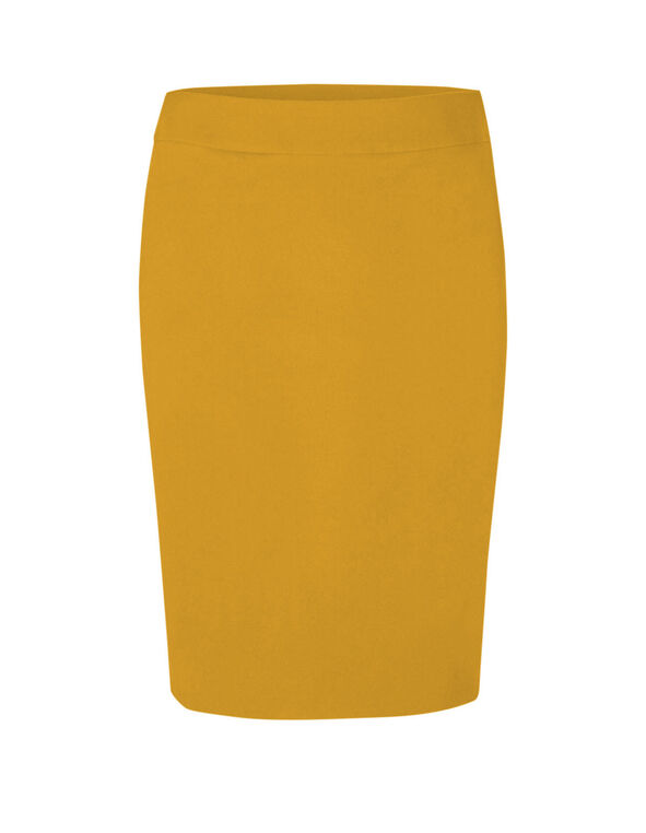 Mustard Pull On Pencil Skirt, Mustard, hi-res