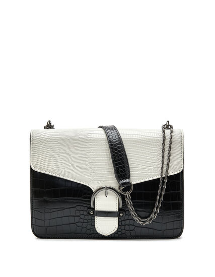 Colour Block Croco Handbag, White/Black, hi-res