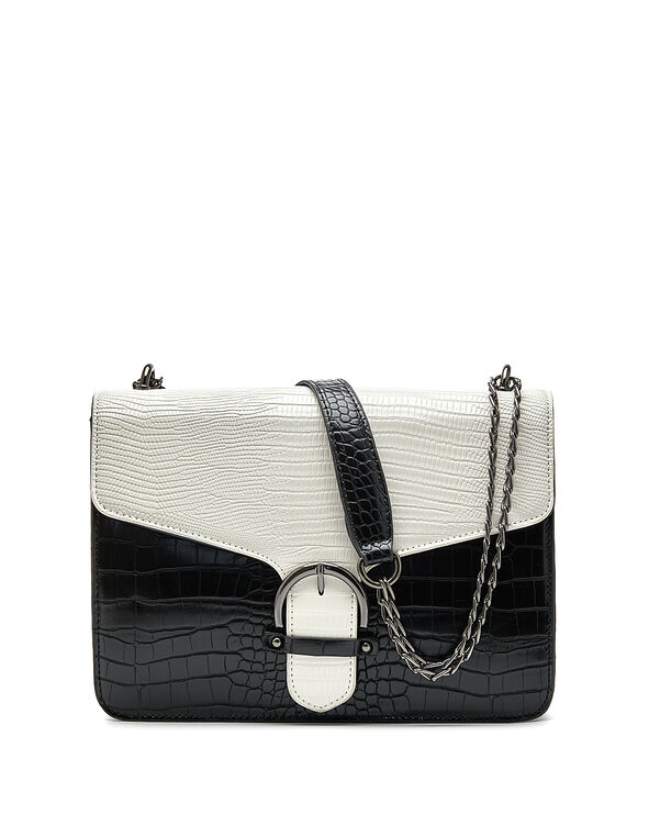 Colour Block Croco Handbag, White/Black, hi-res