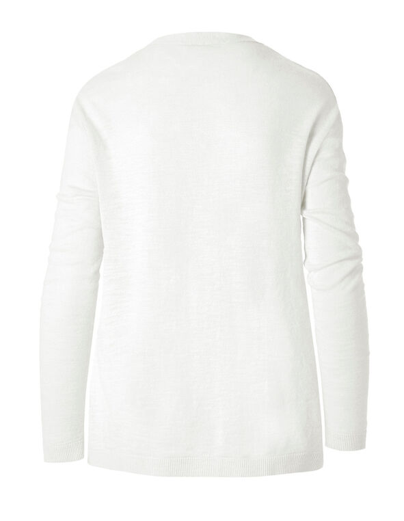 White Slub Button Front Cardigan, White, hi-res