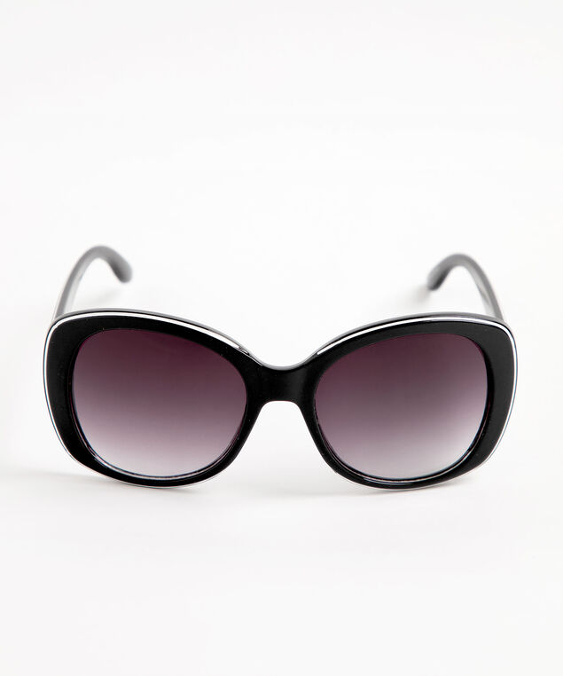 Black & White Tipped Round Sunglasses, Black/White