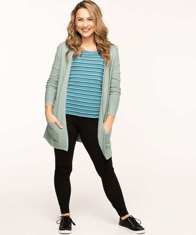 Scoop Neck 3/4 Sleeve Tee, Teal Stripe