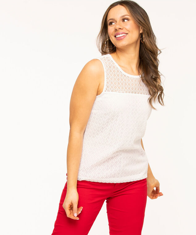 Sleeveless Lace Overlay Top, White