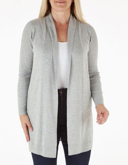Grey Recycled Fabric Long Cardigan, Grey, hi-res