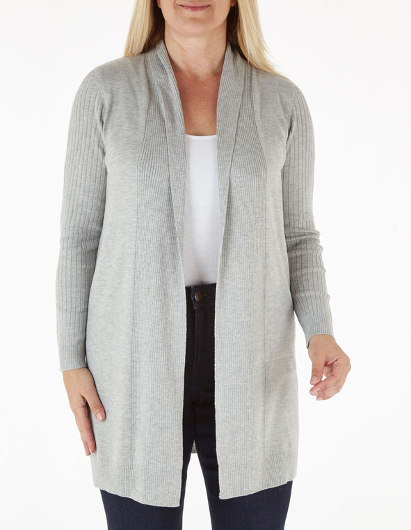 Grey Recycled Fabric Long Cardigan, Grey, hi-res