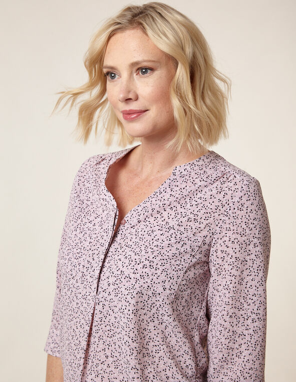Black Dot Printed top, Lilac, hi-res